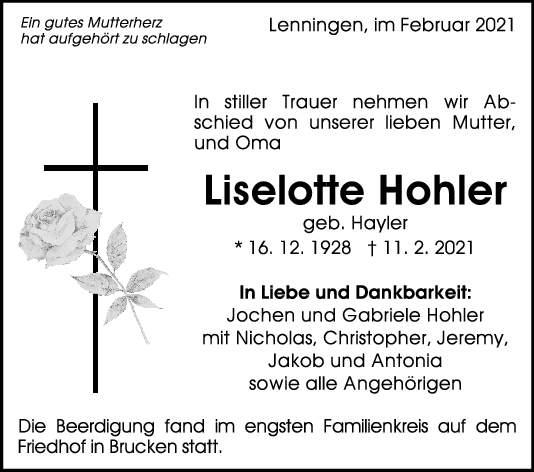 Trauer Liselotte Hohler <br><p style=