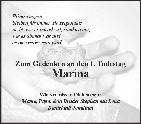 Nachruf Marina <br><p style=