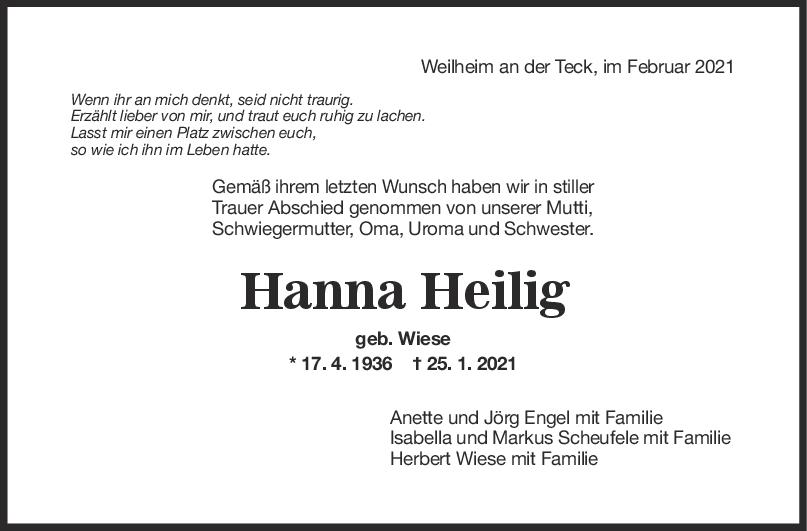 Trauer Hanna Heilig <br><p style=