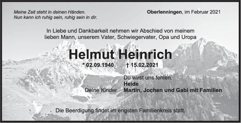 Trauer Helmut Heinrich <br><p style=
