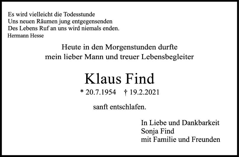 Trauer Klaus Find <br><p style=