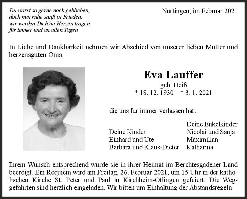 Trauer Eva Lauffer <br><p style=