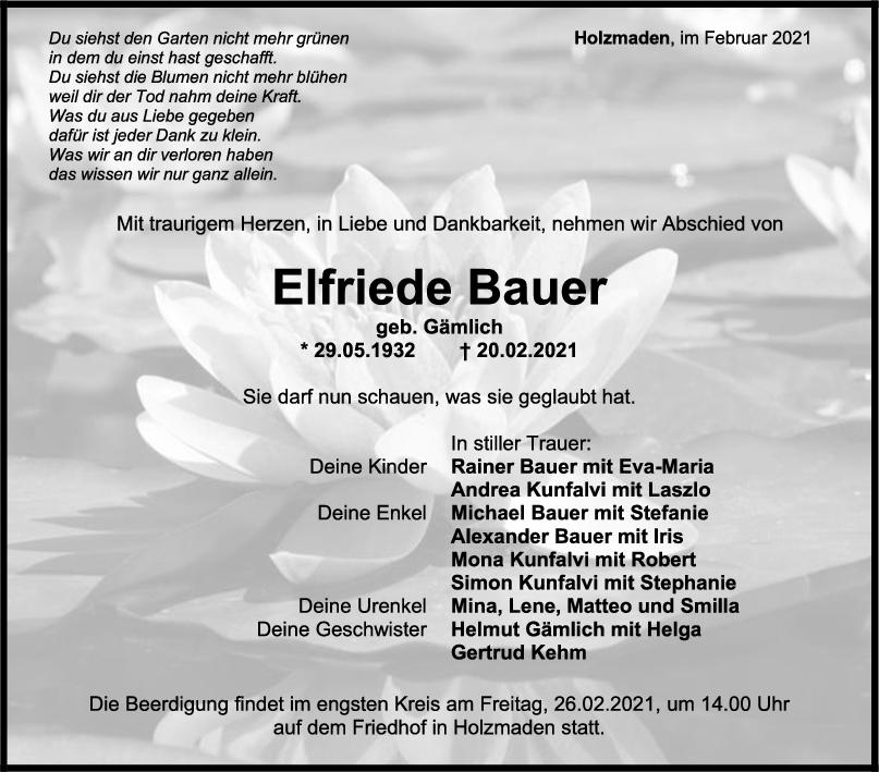 Trauer Elfriede Bauer <br><p style=