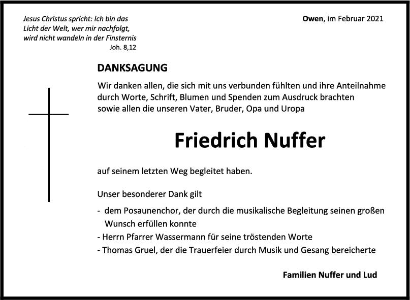 Danksagung Friedrich Nuffer <br><p style=