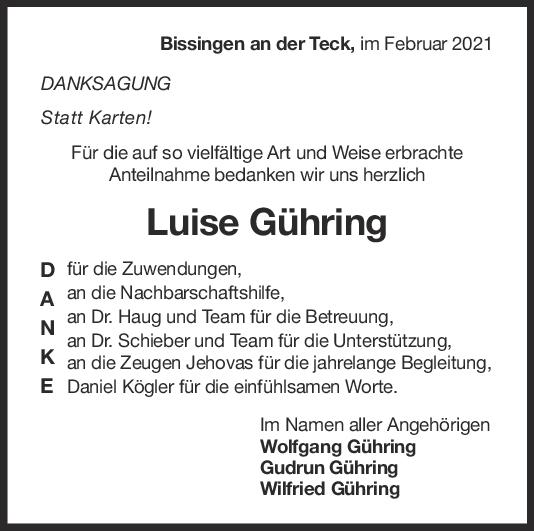 Danksagung Luise Gühring <br><p style=