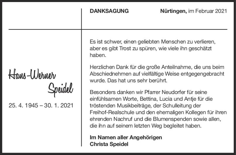 Danksagung Hans-Werner Speidel <br><p style=