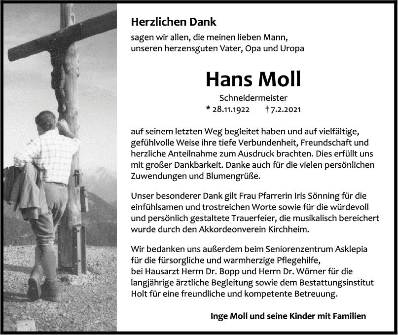 Danksagung Hans Moll <br><p style=