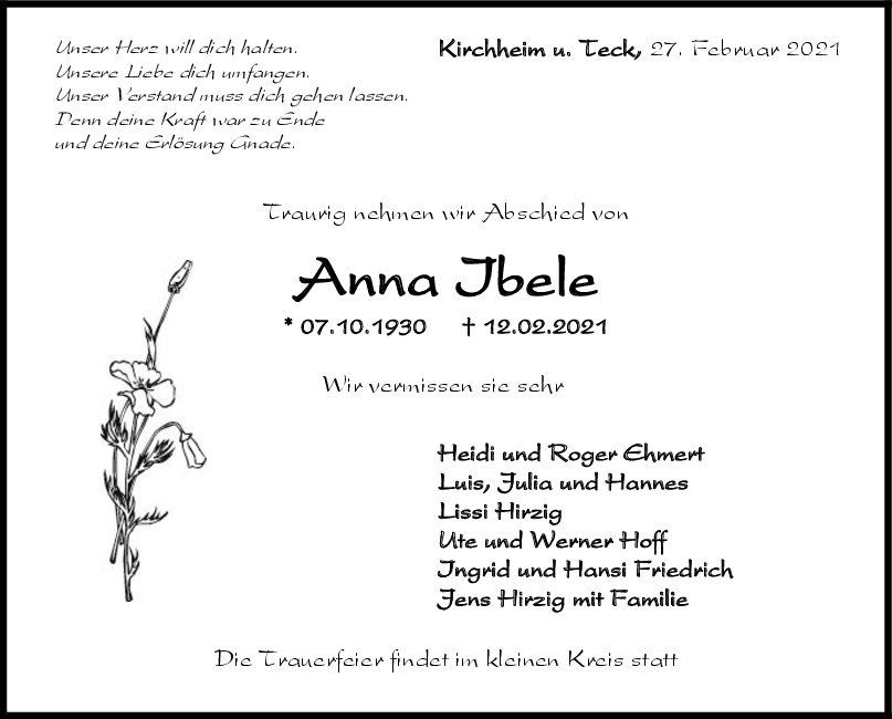 Trauer Anna Ibele <br><p style=
