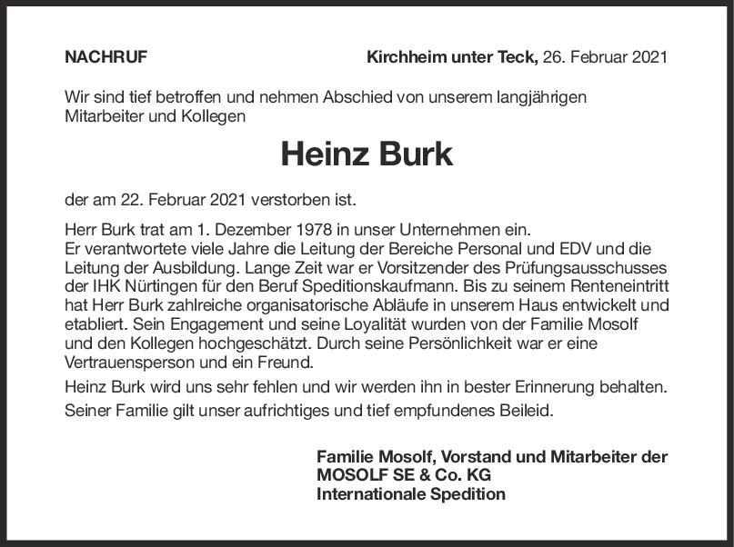 Nachruf Heinz Burk <br><p style=