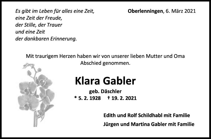 Trauer Klara Gabler <br><p style=