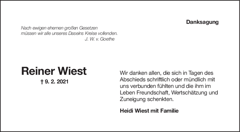 Danksagung Reiner Wiest <br><p style=