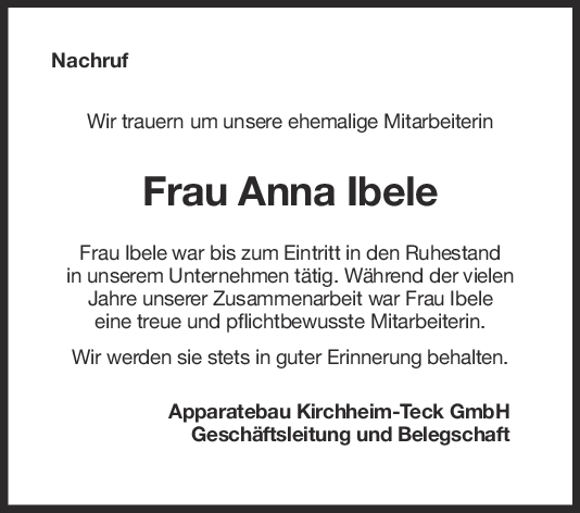Nachruf Anna Ibele <br><p style=