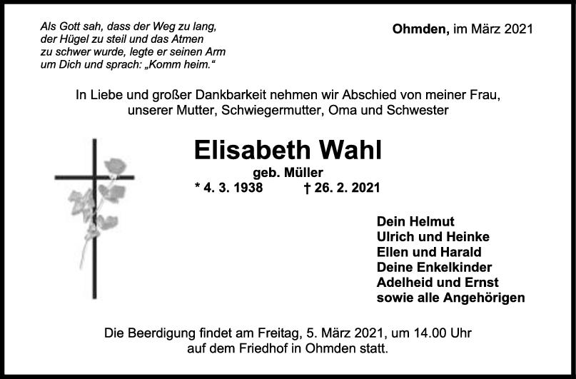 Trauer Elisabeth Wahl <br><p style=