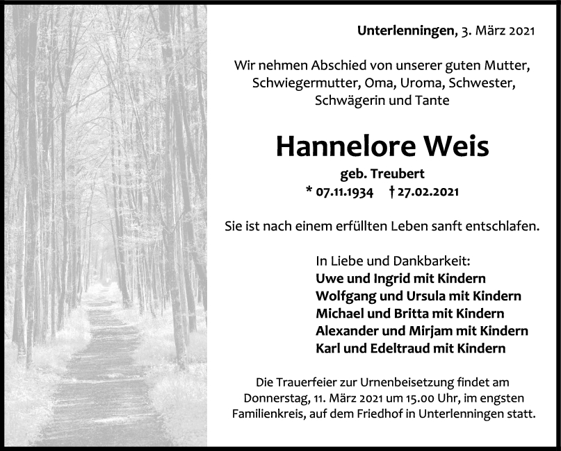 Trauer Hannelore Weis <br><p style=