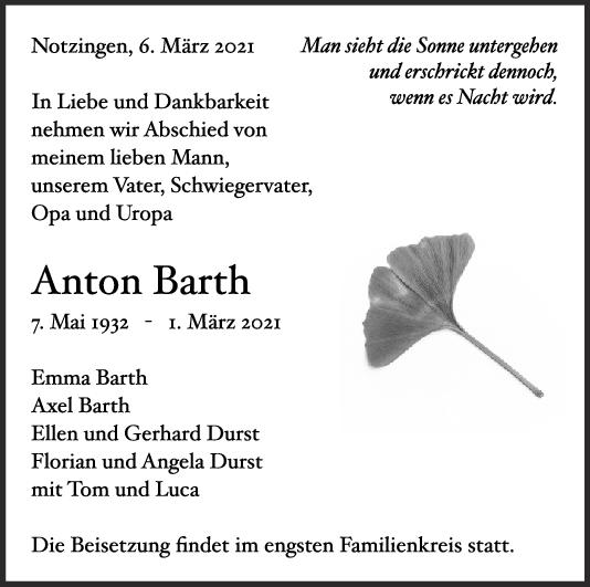 Trauer Anton Barth <br><p style=