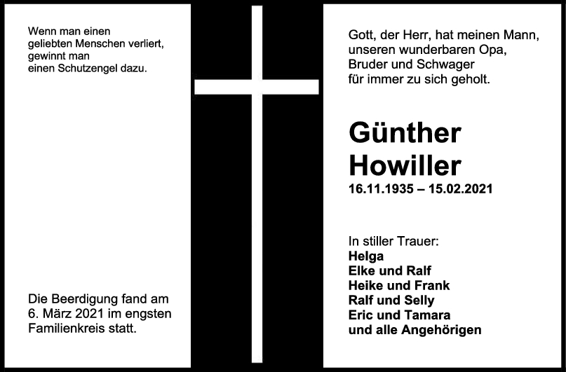 Trauer Günther Howiller <br><p style=