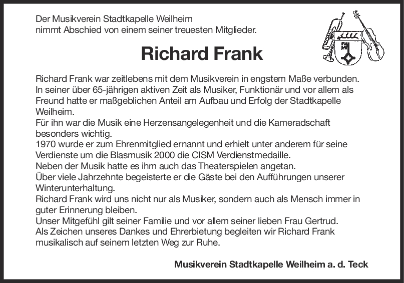 Nachruf Richard Frank <br><p style=
