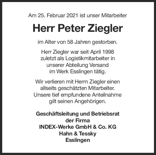Nachruf Peter Ziegler <br><p style=