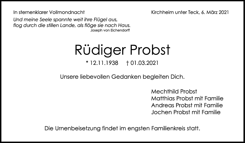 Trauer Rüdiger Probst <br><p style=
