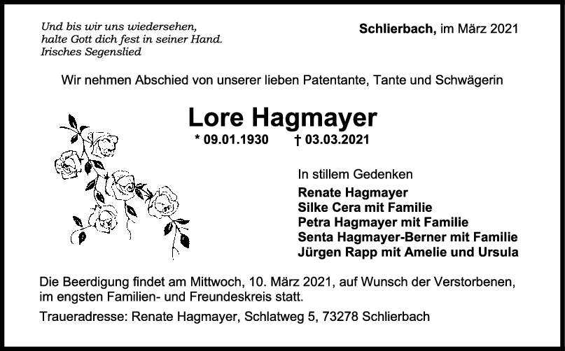 Trauer Lore Hagmayer <br><p style=