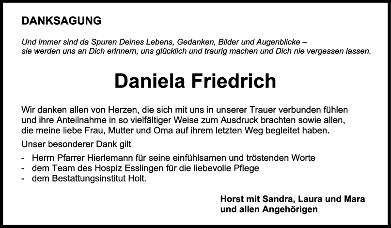 Danksagung Daniela Friedrich <br><p style=