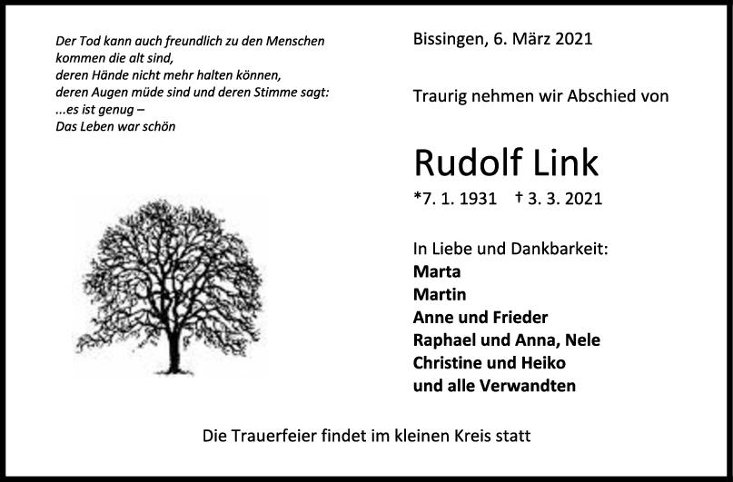 Trauer Rudolf Link <br><p style=