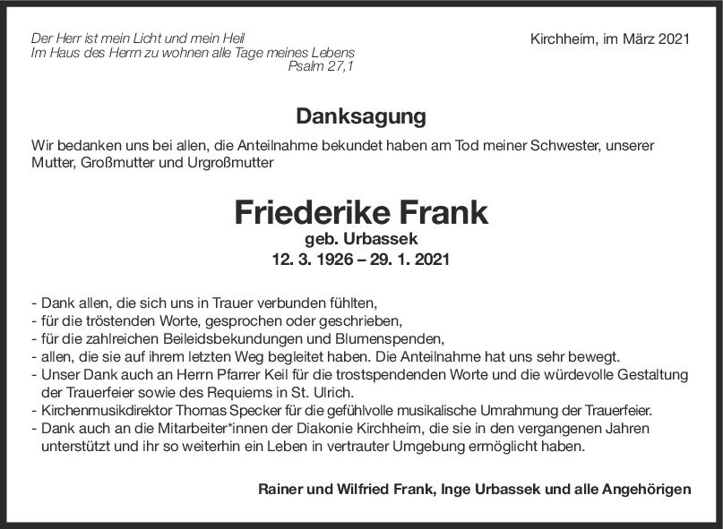 Danksagung Friederike Frank <br><p style=