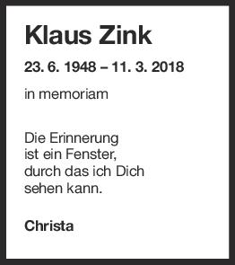 Nachruf Klaus Zink <br><p style=
