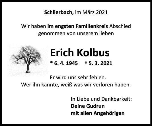 Trauer Erich Kolbus <br><p style=