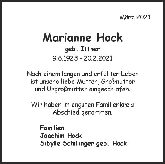Trauer Marianne Hocks <br><p style=
