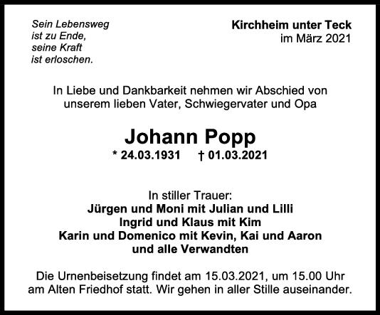 Trauer Johann Popp <br><p style=