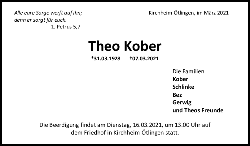 Trauer Theo Kober <br><p style=