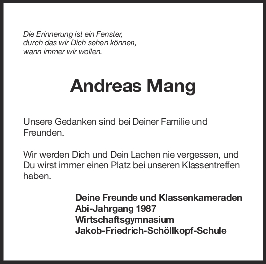 Nachruf Andreas Mang <br><p style=
