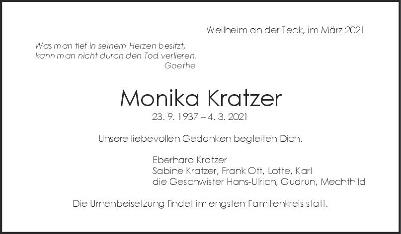 Trauer Monika Kratzer <br><p style=
