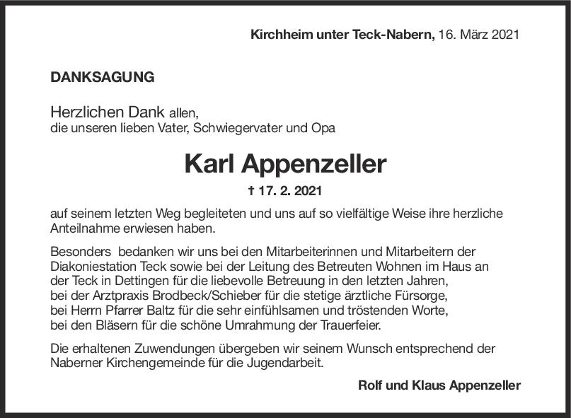 Danksagung Karl Appenzeller <br><p style=