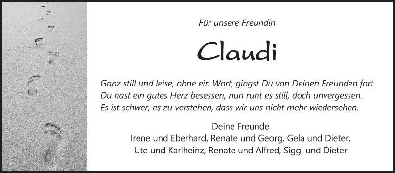 Nachruf Claudia Berndt <br><p style=