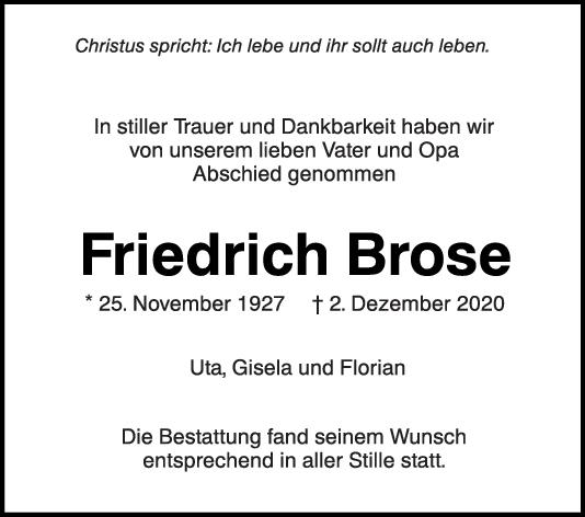 Trauer Friedrich Brose <br><p style=