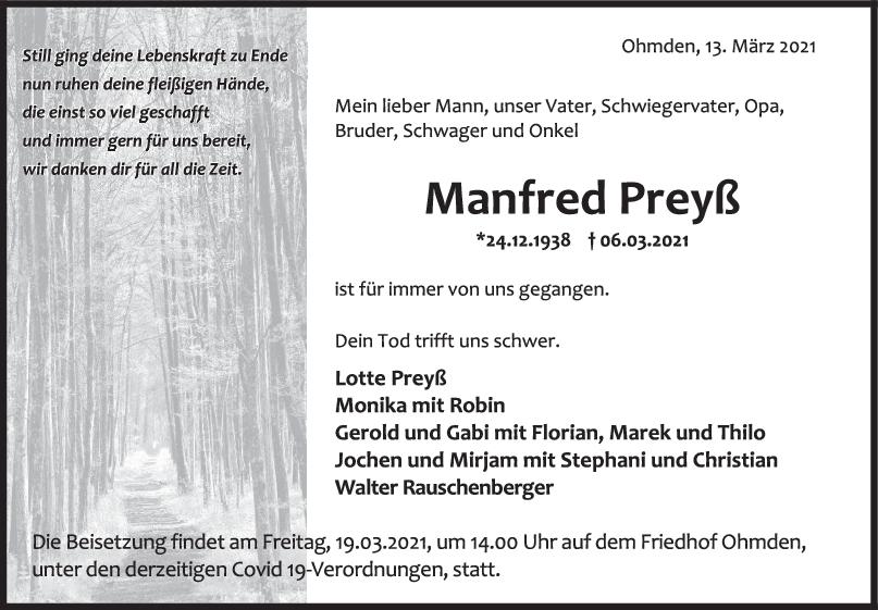 Trauer Manfred Preyß <br><p style=