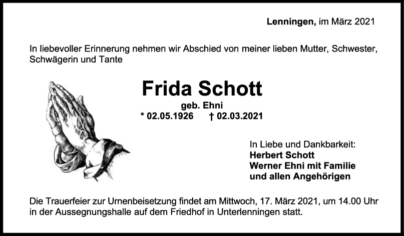 Trauer Frida Schott <br><p style=