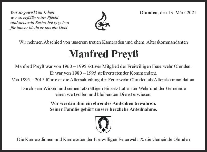 Nachruf Manfred Preys <br><p style=