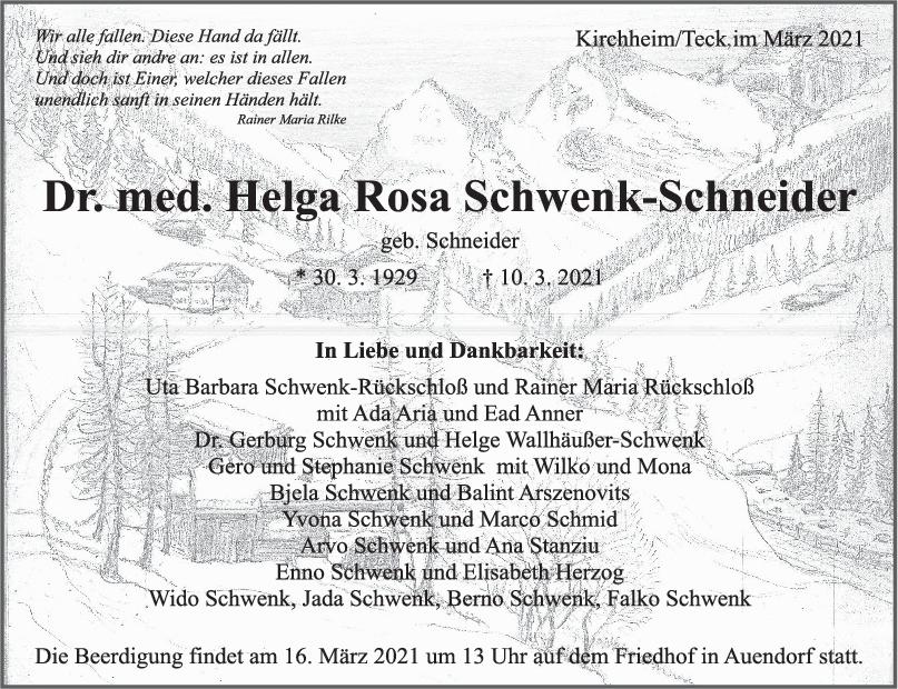 Trauer Dr. Schwenk-Schneider <br><p style=