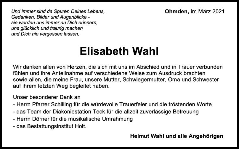 Danksagung Elisabeth Wahl <br><p style=