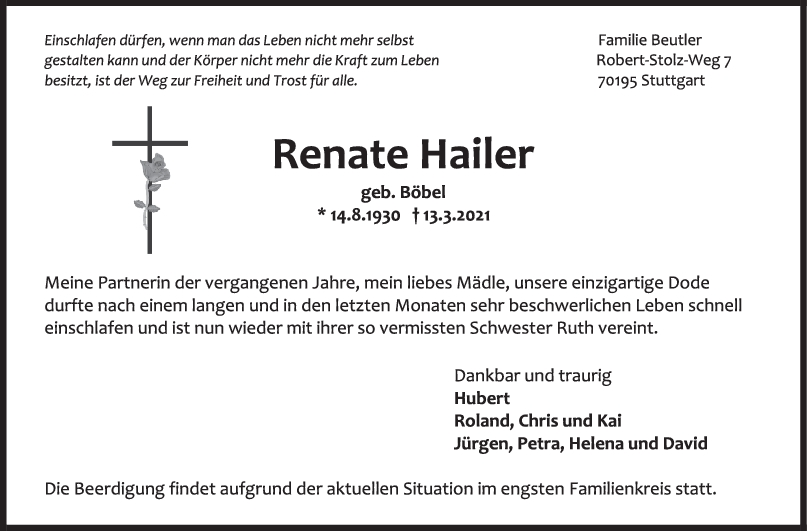 Trauer Renate Hailer <br><p style=