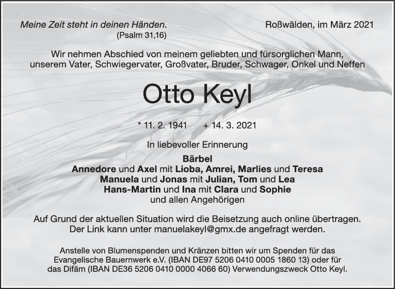 Trauer Otto Keyl <br><p style=