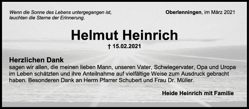 Danksagung Helmut Heinrich <br><p style=