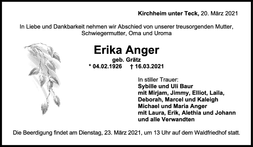 Trauer Erika Anger <br><p style=