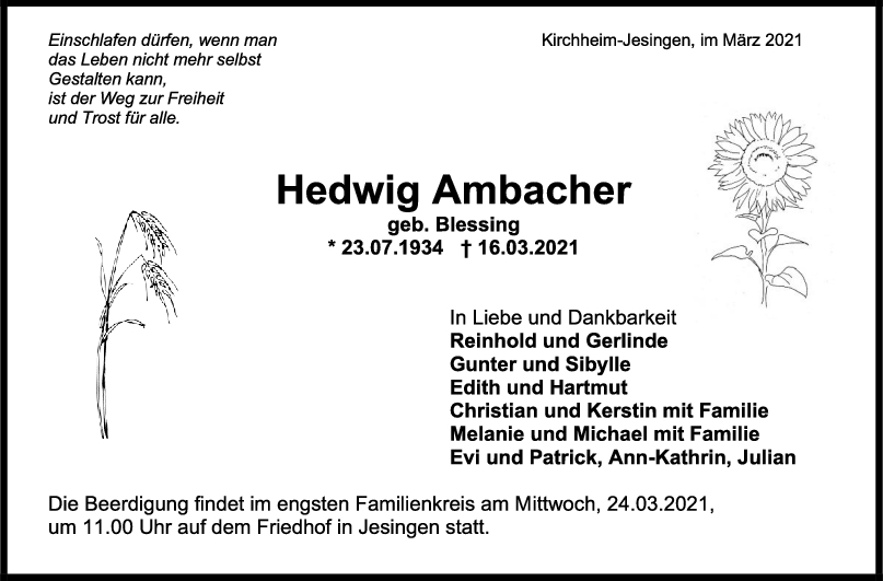 Trauer Hedwig Ambacher <br><p style=