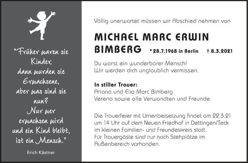 Trauer Michael Marc Erwin Bimberg <br><p style=