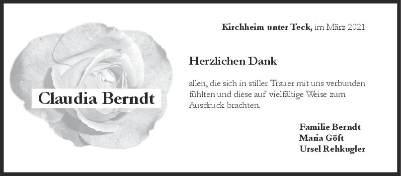 Danksagung Claudia Berndt <br><p style=