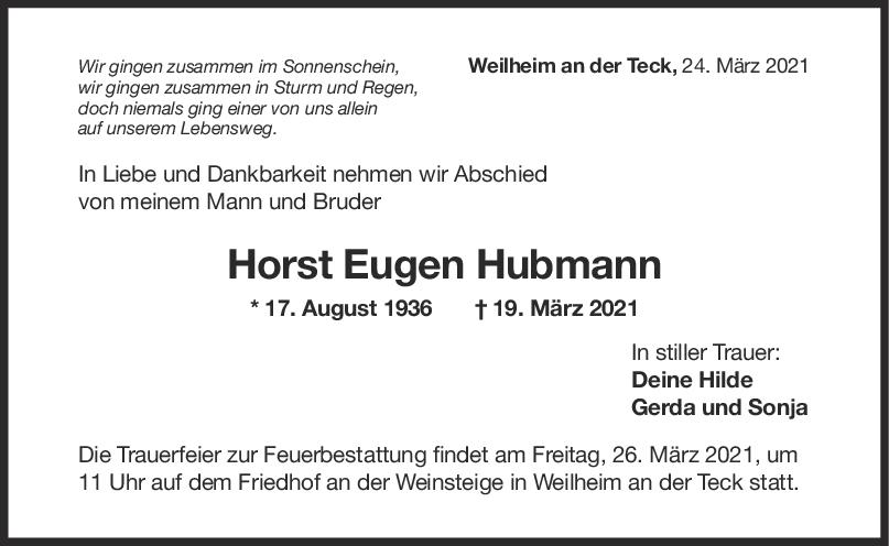 Trauer Horst Eugen Hubmann <br><p style=